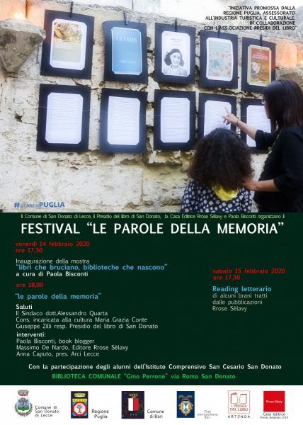 """San Donato di Lecce presenta il festival """"Le Parole della Memoria"""""""