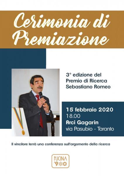 """Premiazione 3 Ed. Premio di Ricerca """"Sebastiano Romeo"""""""