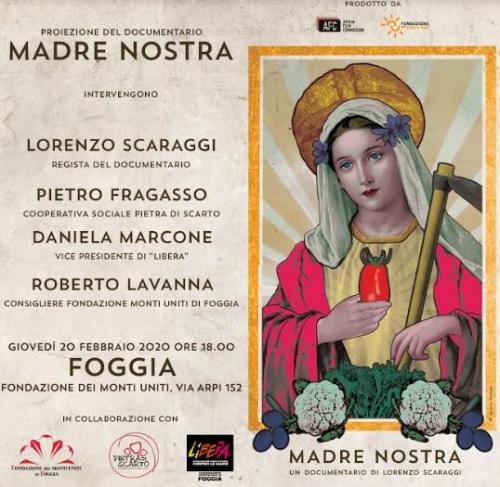 """Proiezione del documentario """"Madre nostra"""" di Lorenzo Scaraggi a Foggia"""