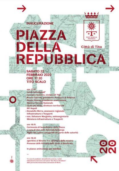Anche Tito scalo avrà la sua piazza. Sabato 22 febbraio l'inaugurazione