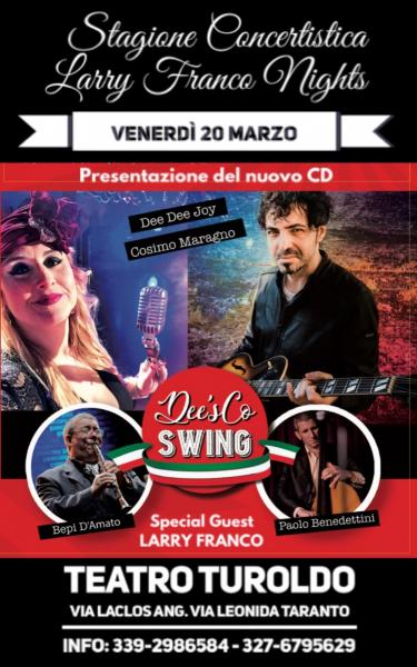 DEE'sCO SWING al Teatro Turoldo - Dee Dee Joy in quartetto plus Larry Franco