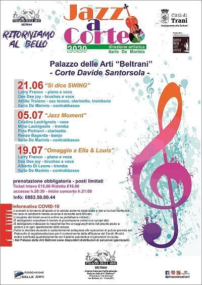"""Palazzo Beltrani ricomincia a suon di jazz. La seconda edizione di """"Jazz a Corte"""" inizia nella Giornata della musica"""
