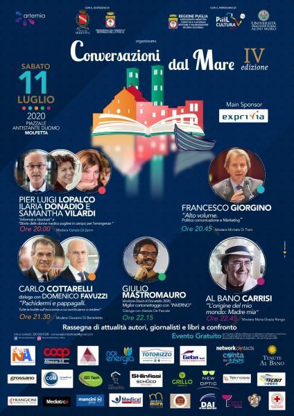 Conversazioni dal Mare 2020. L'11 luglio la IV edizione a Molfetta.  Giornalisti e autori si confronteranno sui temi di attualità, economia, cinema, musica e comunicazione